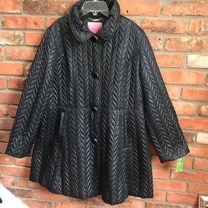 Kate Spade NEW Quilted Nylon Fit Flare Coat Jacket Lined Bow Buttons NWT Tag XL